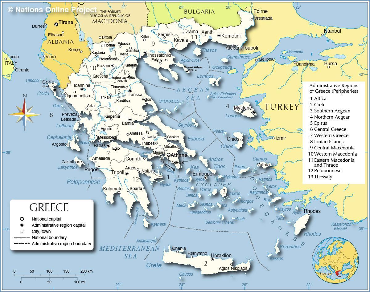 Karta Lander I Europa.Grekland Och Omgivande Lander Karta Karta Over Grekland Och