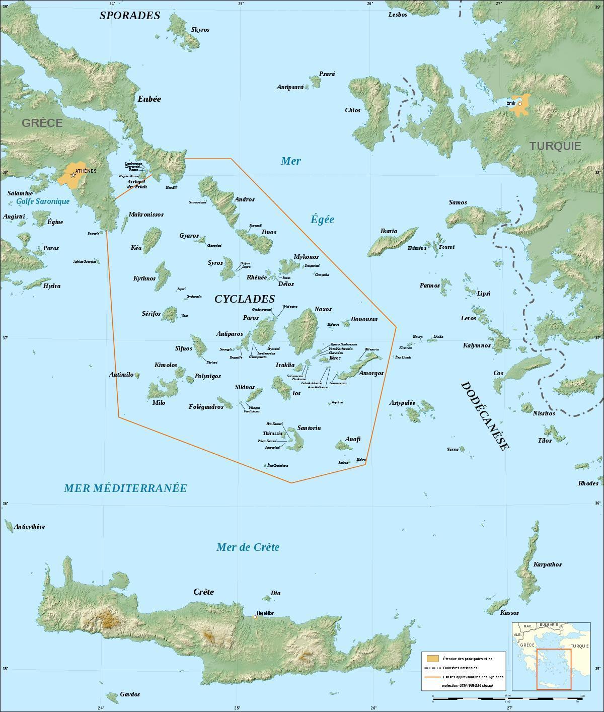 kykladerna karta Grekiska kykladerna karta   Karta över kykladerna grekiska öarna  kykladerna karta