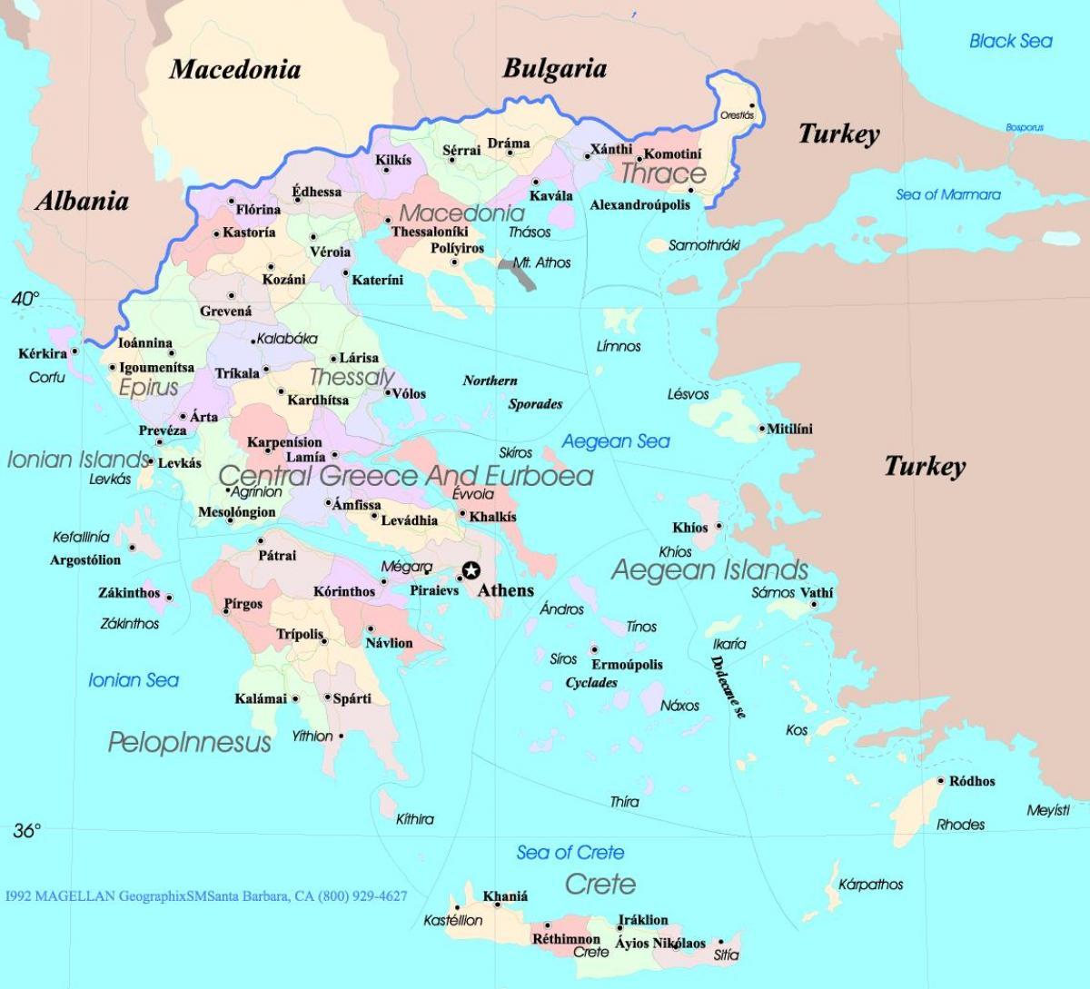 Karta Europa Grekland.Grekland Karta Engelska Karta Over Grekland I Engelska Sodra