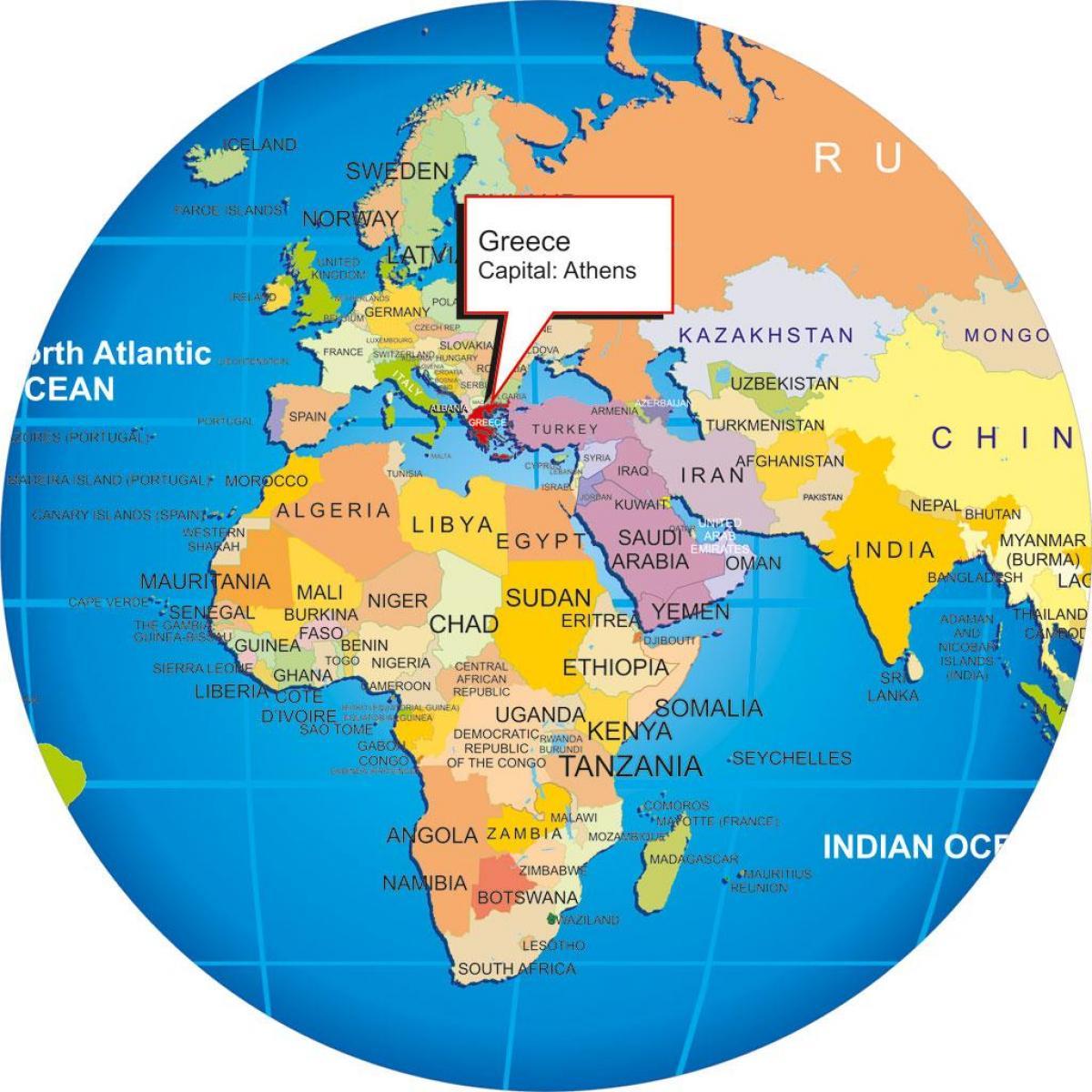 Karta Varlden Europa.Grekland Karta World Grekland Pa En Varldskarta Sodra Europa