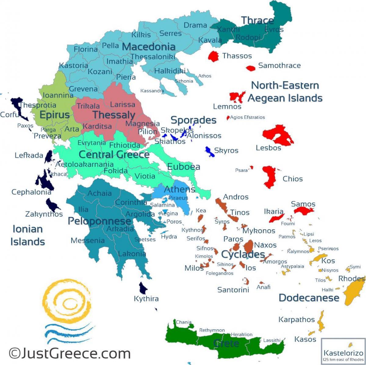 grekiska övärlden karta Karta över grekiska öar   grekiska öarna karta (Södra Europa   Europa) grekiska övärlden karta