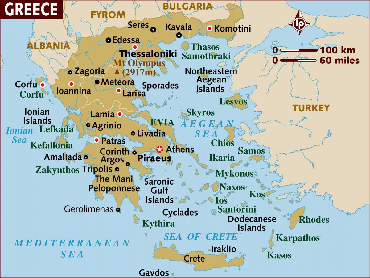 Karta Over Grekland Oar Oarna I Grekland Karta Sodra Europa